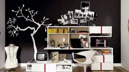 Tree-Wall-Stickers-Decals-and-Modern-White-Furniture-in-Dark-Teenage-Girls-Bedroom-Paint-Decorating-Design-Ideas